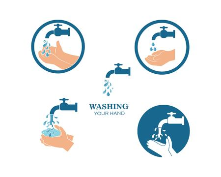 washing hands logo icon vector design template  イラスト・ベクター素材