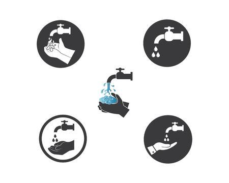 se laver les mains, logo, icône, vecteur, conception, modèle Logo