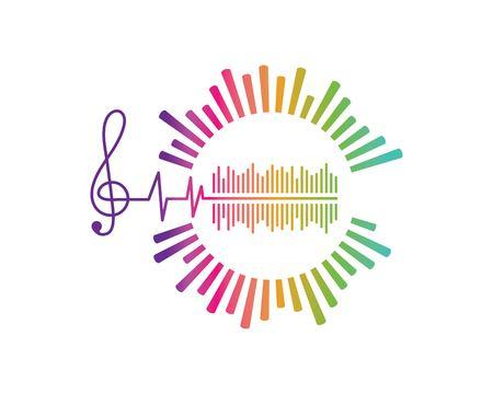 musica, equalizzatore ed effetto sonoro illustrazione logo icona vettore modello vector Logo