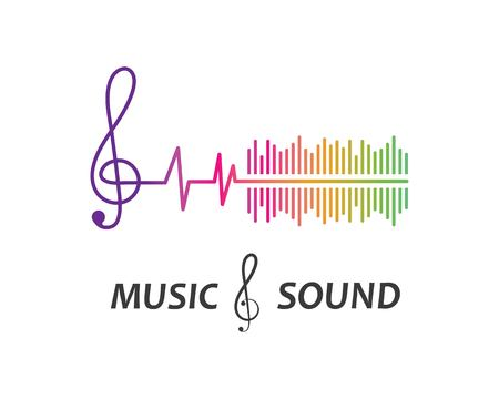 music,equaizer and sound effect ilustration logo vector icon template