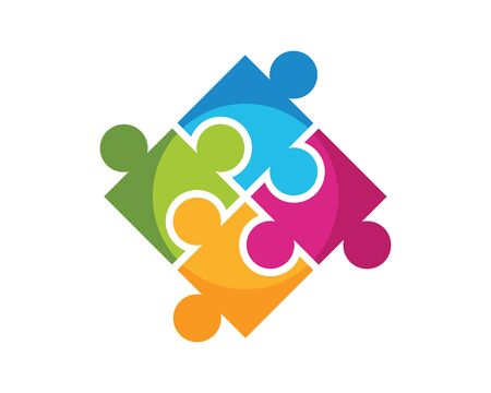 puzzle and community social network logo icon illustration vector