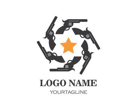 gun logo icon vector illustration design template Stock Vector - 124706128