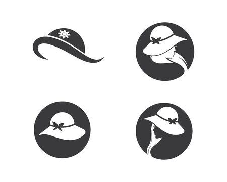 woman hat icon logo vector illustration design template Ilustrace