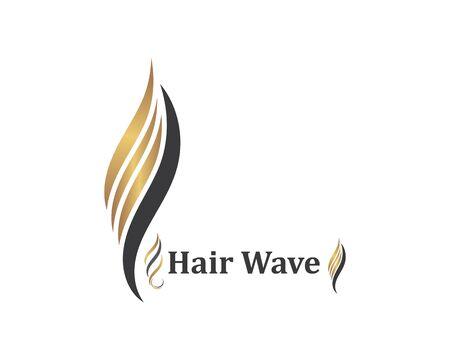 icône de vague de cheveux vecteur illustratin symbole de conception de modèle de coiffure et de salon