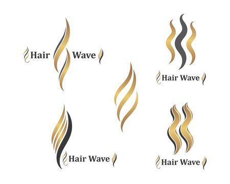 hair wave icon vector illustratin design symbol of hairstyle and salon template  イラスト・ベクター素材