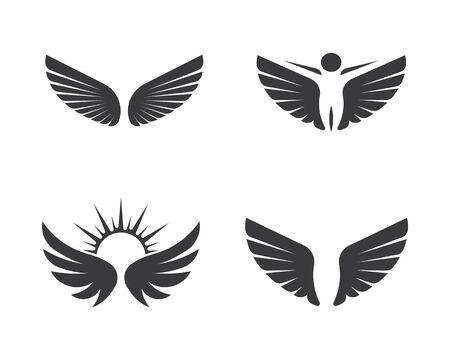 Plantilla de ilustración de vector de icono de símbolo de logotipo de ala Logos