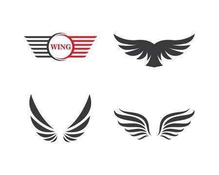 Plantilla de ilustración de vector de icono de símbolo de logotipo de ala