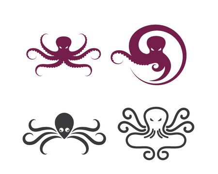 octopus icon logo vector illustration design template