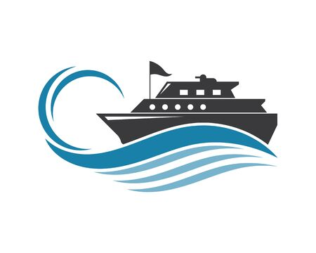 Kreuzfahrtschiff Vorlage Vektor Icon Illustration Design