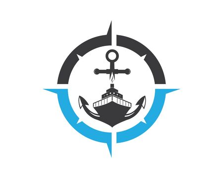cruise ship Template vector icon illustration compass and anchor design Illustration