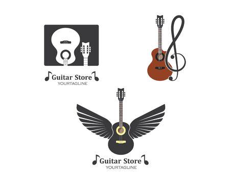 guitar icon logo vector illustration design template