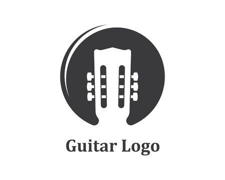 modello di progettazione dell'illustrazione di vettore del logo dell'icona della chitarra Logo