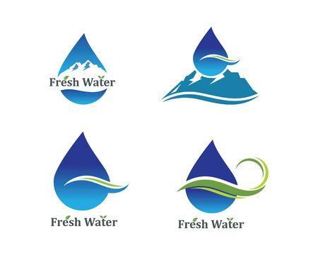 water drop and mountain Logo icon vector illustration design for bottle water business concept Ilustração