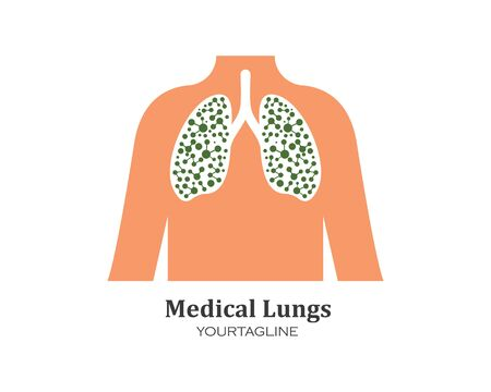 human lungs logo icon vector illustration design template Vectores