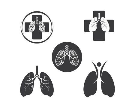 human lungs logo icon vector illustration design template Illustration