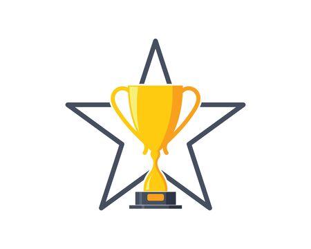 Simbolo dell'illustrazione del vincitore dell'icona di vettore del trofeo