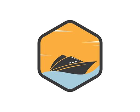 cruise ship and nautical Logo vector icon illustration design Illustration