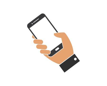 smartphone in hand  logo icon vector illustration design template Ilustração
