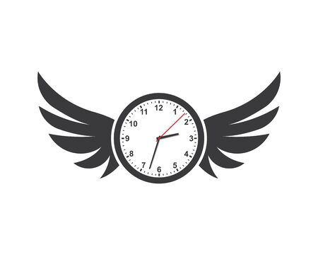 clock and wings icon lose of time and time out illustration design vector template
