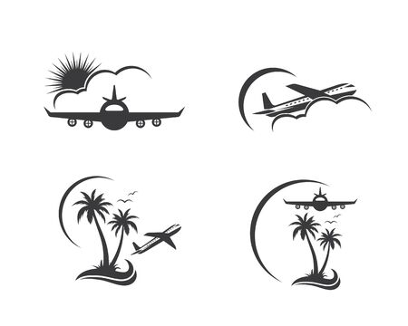 plane with palms icon logo of travel and travel agency vector illustration