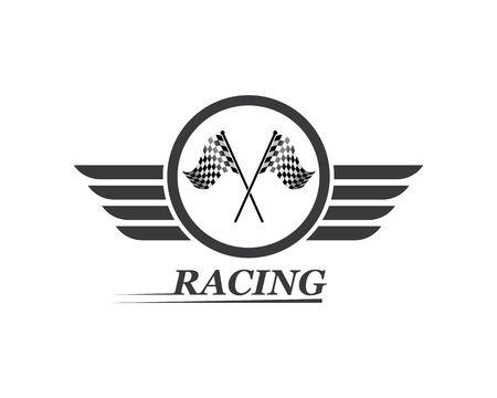 icône de drapeau de course du modèle vectoriel d'illustration automobile