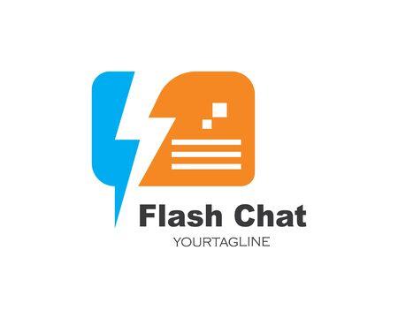 flash chat message logo icon vector illustration design