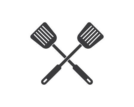 Icône du logo de la spatule de la cuisine et illustration vectorielle kithen