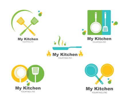spatula and pan logo icon of cooking and kithen vector illustration