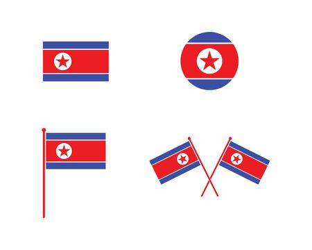 north korean flag icon logo vector illustration