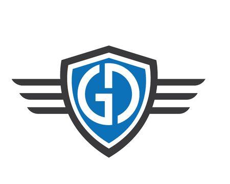 gd,dg letter wings logo icon illustration vector design Logo