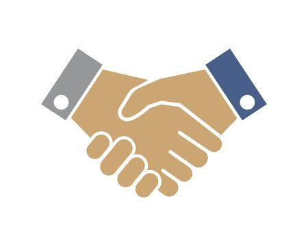 handshaking logo vector icon of business agreement design Logo