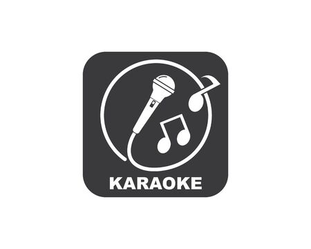 microphone icon logo of karaoke and musical vector illustration design template