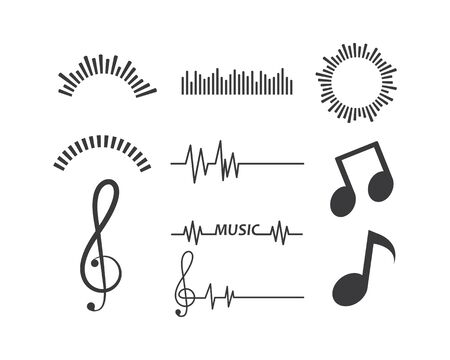 pulse line,equaizer and sound effect ilustration logo vector icon template Stock Vector - 128657132