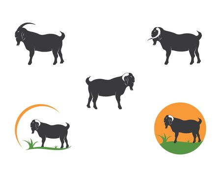 Goat Logo Template vector illustrtion design 写真素材 - 128906980