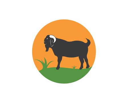 Goat Logo Template vector illustrtion design 版權商用圖片 - 128907101