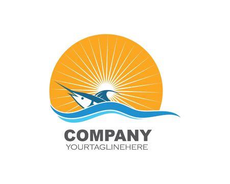 blue marlin fish icon logo illustration vector 版權商用圖片 - 128907374