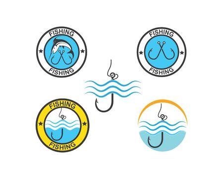 fishing logo icon badge vector illustration design 版權商用圖片 - 128907577