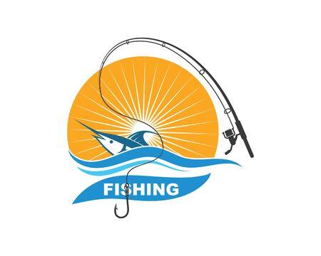 fishing logo icon badge vector illustration design