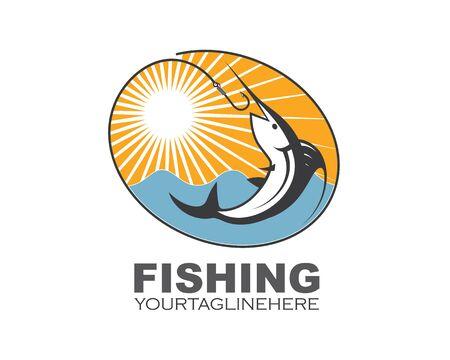 fishing logo icon badge vector illustration design 版權商用圖片 - 128907573
