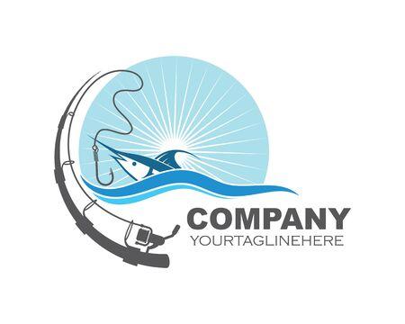 Logo de pêche icône insigne conception d'illustration vectorielle
