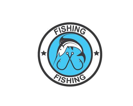 fishing logo icon badge vector illustration design 版權商用圖片 - 128907585