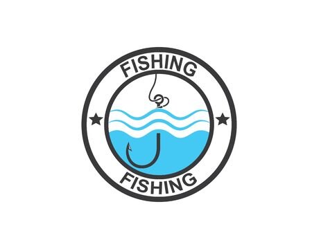 hook  logo icon of fishing vector illustration design  イラスト・ベクター素材