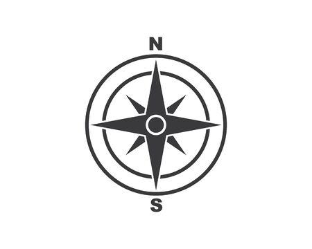 Progettazione dell'illustrazione dell'icona di vettore di Logo Template della bussola