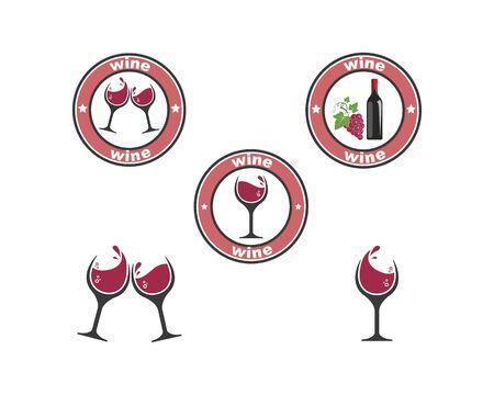 wine logo icon vector illustration design template
