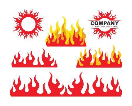 Fire flame Logo icon vector illustration design template  イラスト・ベクター素材
