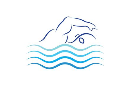 swimming icon logo vector illustration design template