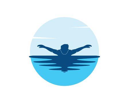 swimming icon logo vector illustration design template