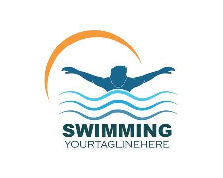 Plantilla de diseño de ilustración de vector de logotipo de icono de natación
