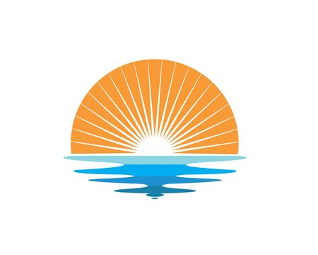 wave sun logo icon vector illustration design template