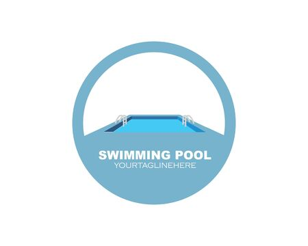 swimming pool  icon logo vector illustration design template